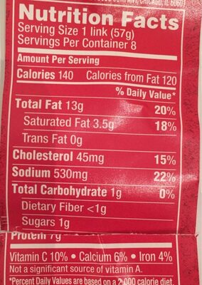 Uncured bun-length wieners, uncured - Nutrition facts