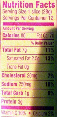 Bologna - Nutrition facts