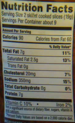 Naturally hardwood smoked bacon, hardwood smoked - Nutrition facts - en