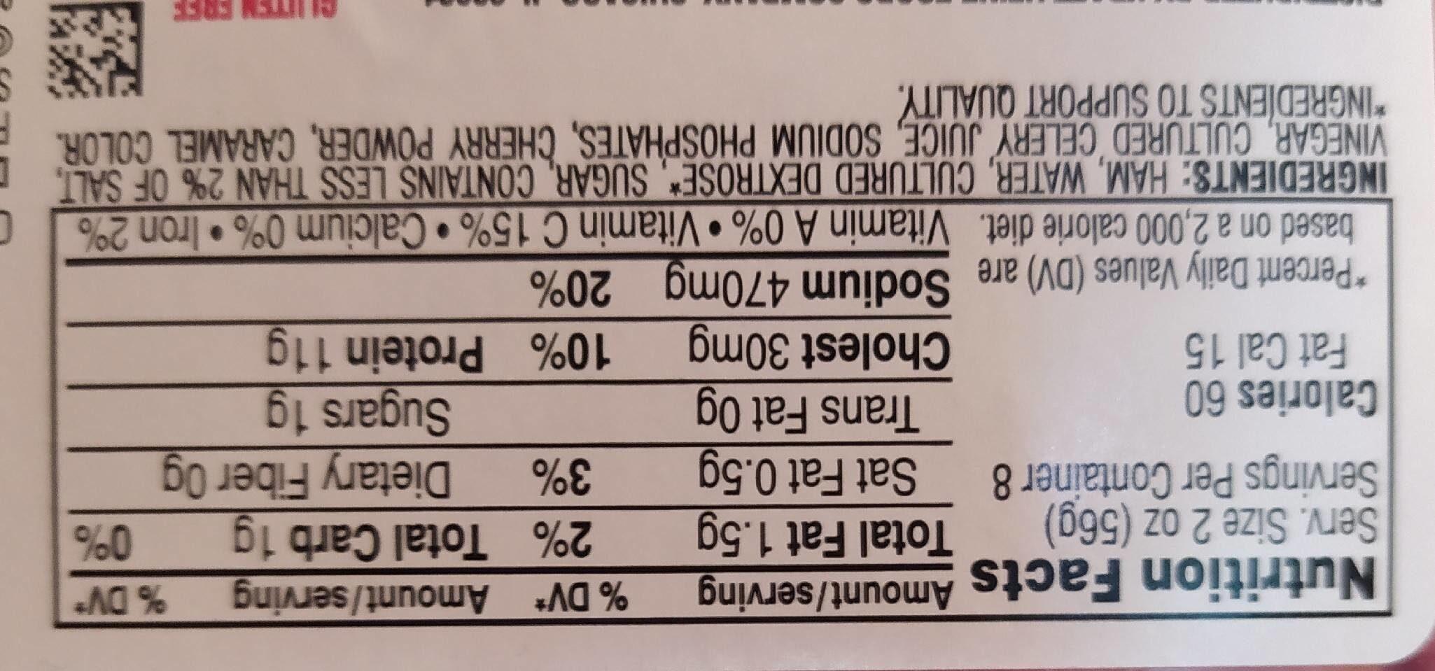 Deli fresh smoked ham - Nutrition facts - en