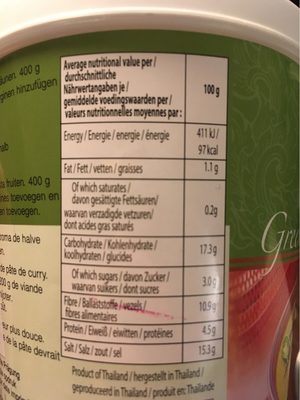 Green Curry Paste - Nutrition facts