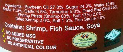 Chilli Paste in Oil - Ingredients