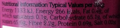 Organic Raspberry Jam - Informations nutritionnelles