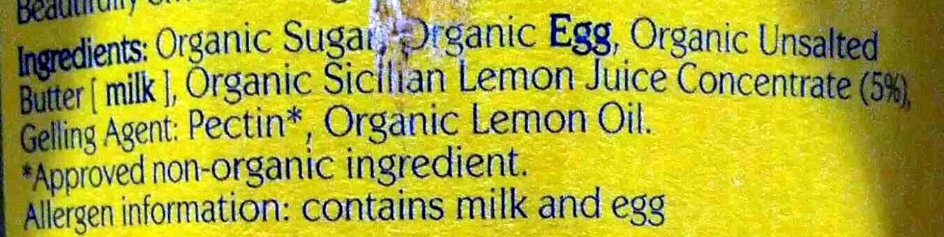 Organic Beautifully Smooth Lemon Curd - Ingredients