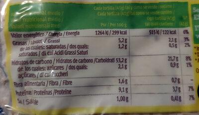 Tortillas trigo - Valori nutrizionali - it