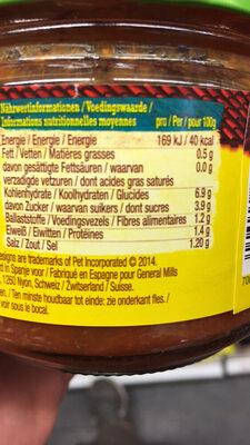Salsa mejicana frasco 312 g - Informations nutritionnelles - fr