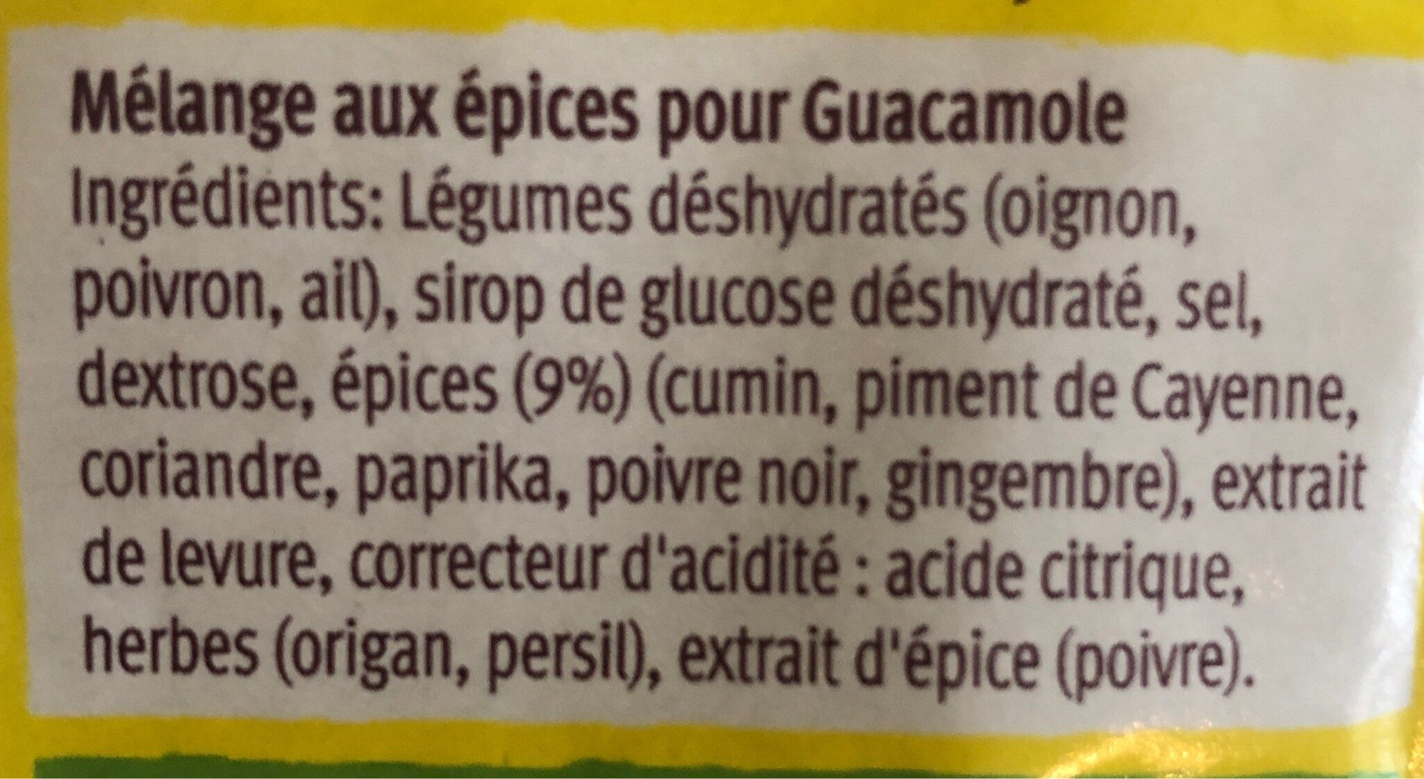 Mélange aux épices pour guacamole - Ingrédients - fr