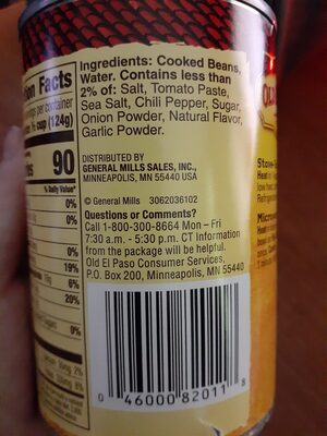 fat free refried beans - Ingredients - en