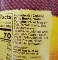 refried beans - Inhaltsstoffe - en