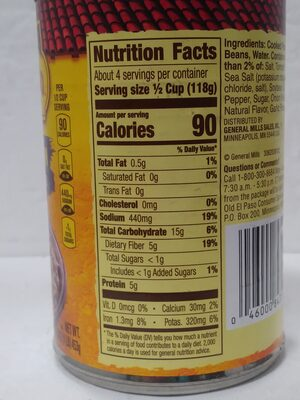 vegetarian refried beans - Nutrition facts