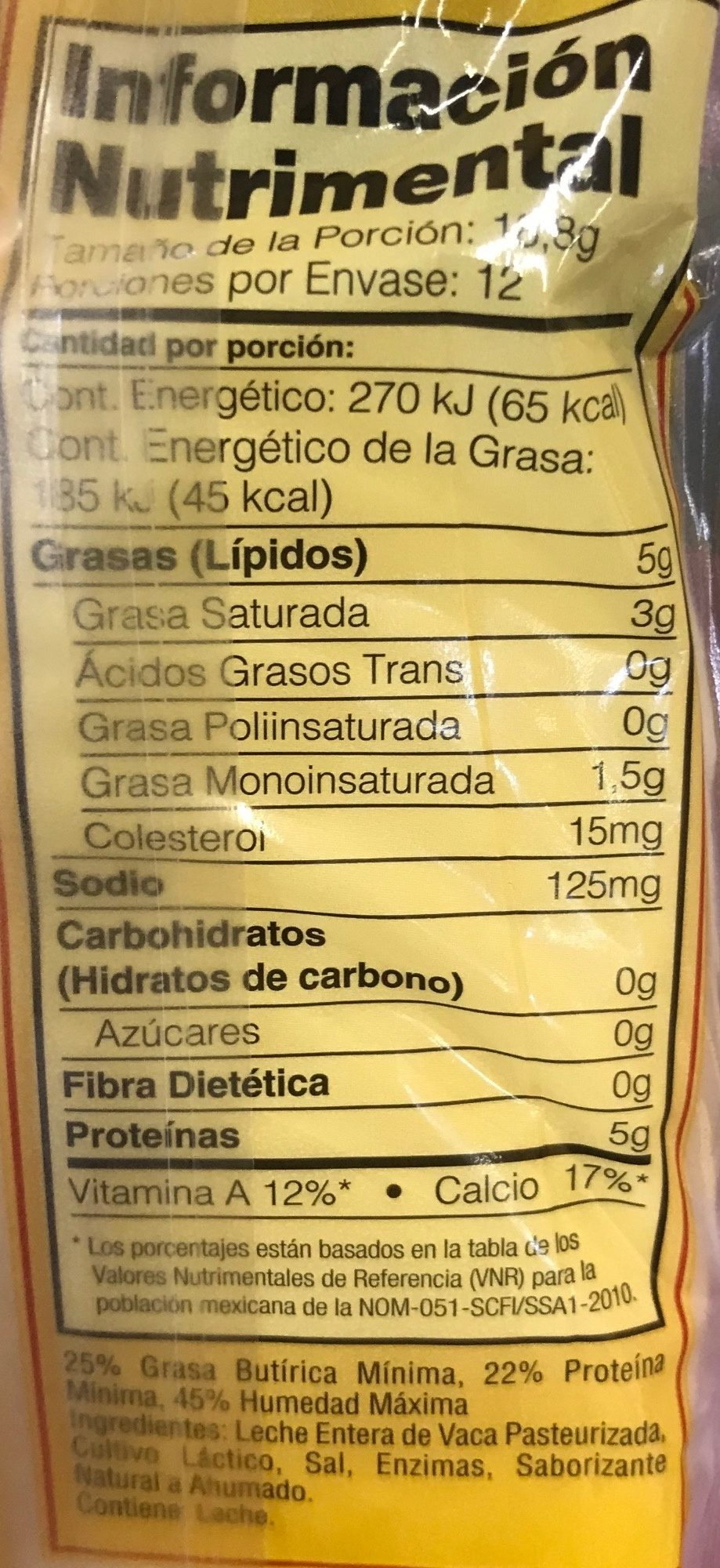 Natural Provolone cheese - Nutrition facts - es