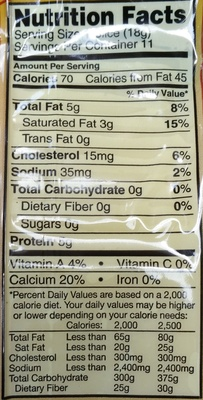 Natural Aged Swiss Cheese - Nutrition facts