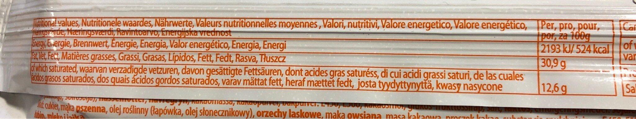 Cookies Chocolat Noisettes - Voedingswaarden