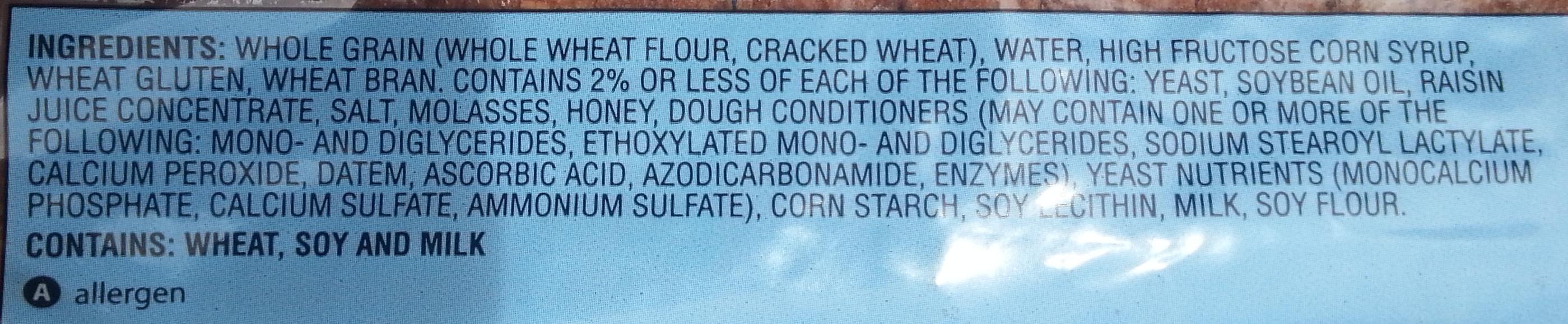 Sonoma 100% stone ground wheat bread - Ingredients
