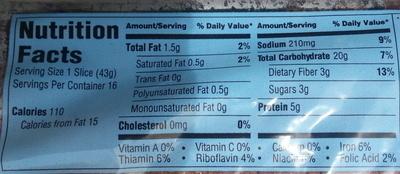 Sonoma 100% stone ground wheat bread - Nutrition facts