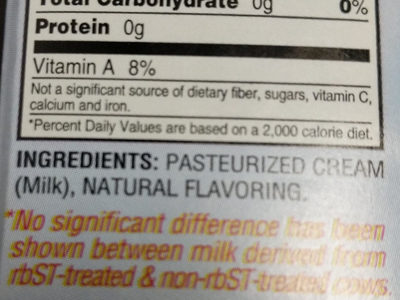 Unsalted Butter - Ingredients