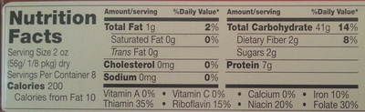 Angel hair - Nutrition facts