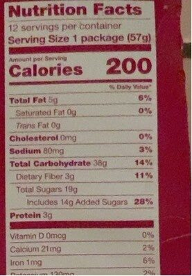 Whole wheat fig bars - Nutrition facts - en