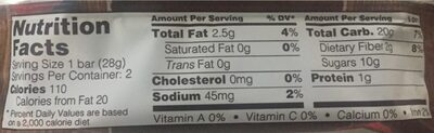 Fig Bar Raspberry - Nutrition facts