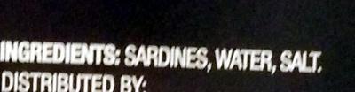 Sardines in water - Ingrédients