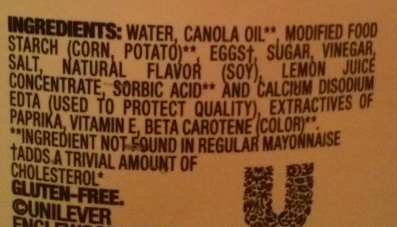 Canola mayonnaise dressing - Ingredients