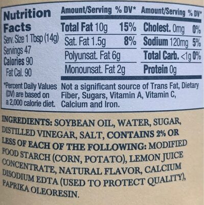 Vegan Carefully Crafted Dressing & Sandwich Spread - Nutrition facts