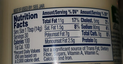 Organic mayonnaise - Nutrition facts