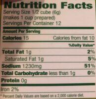 Chicken flavored bouillon cubes - Nutrition facts - en