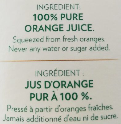 Tropicana Original Orange Juice No Pulp 1.89L - Ingrédients - fr