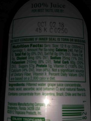 100% grape juice - Ingrédients - en