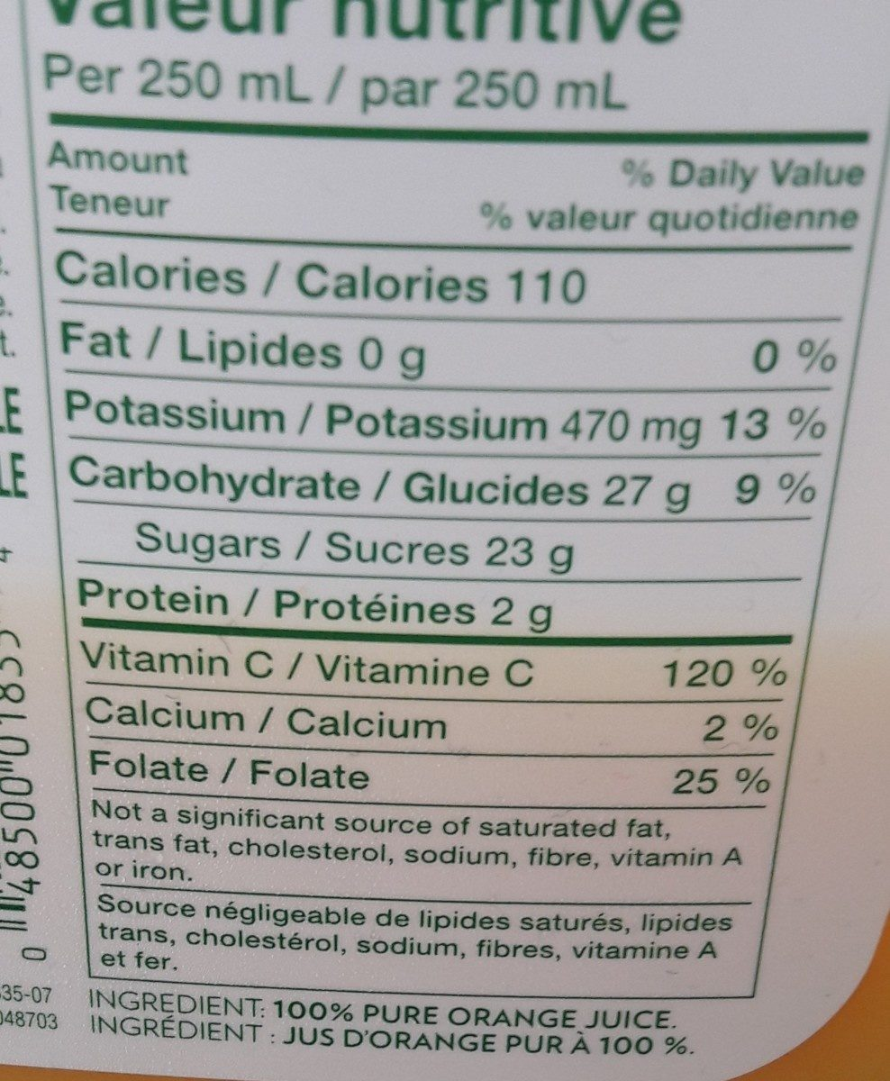 Jus D'orange Pure Premium (sans Pulpe) - Ingredients - fr