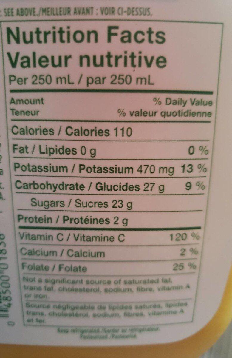 Jus d'orange - Un peu de pulpe - Nutrition facts - fr