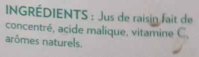 Jus de raisin - Ingrédients - fr