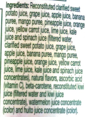 Tropicana farmstand tropical green fruit and vegetable juice - Ingrediënten - en