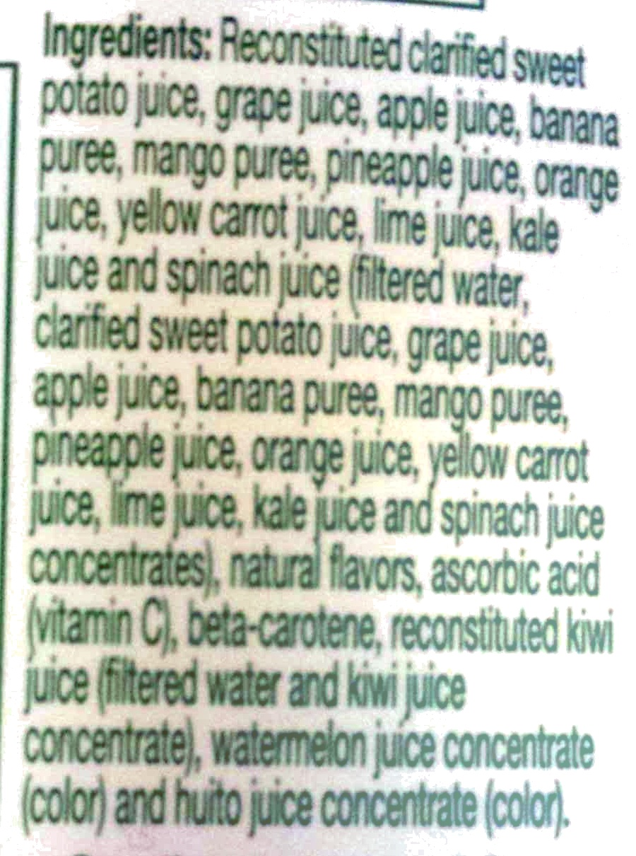 Tropicana farmstand tropical green fruit and vegetable juice - Ingredients