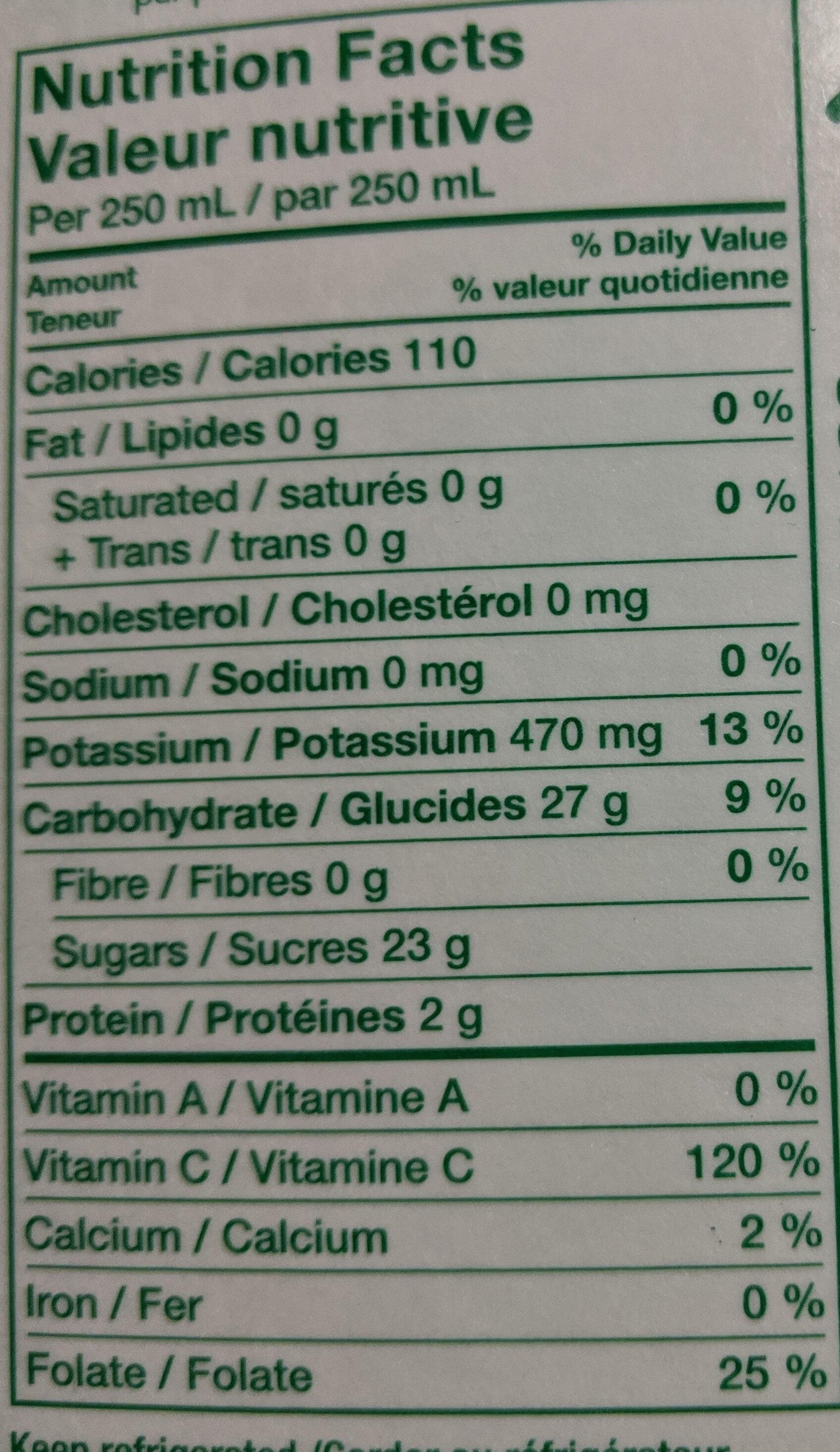 Jus d'orange à 100% - Nutrition facts - fr