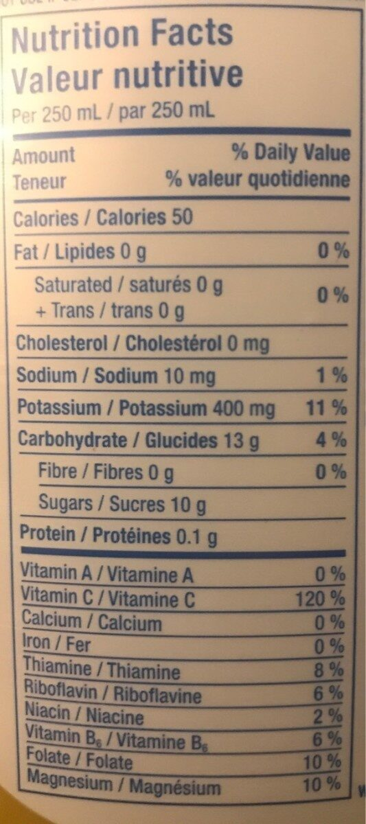 Trop 50 - Nutrition facts - fr