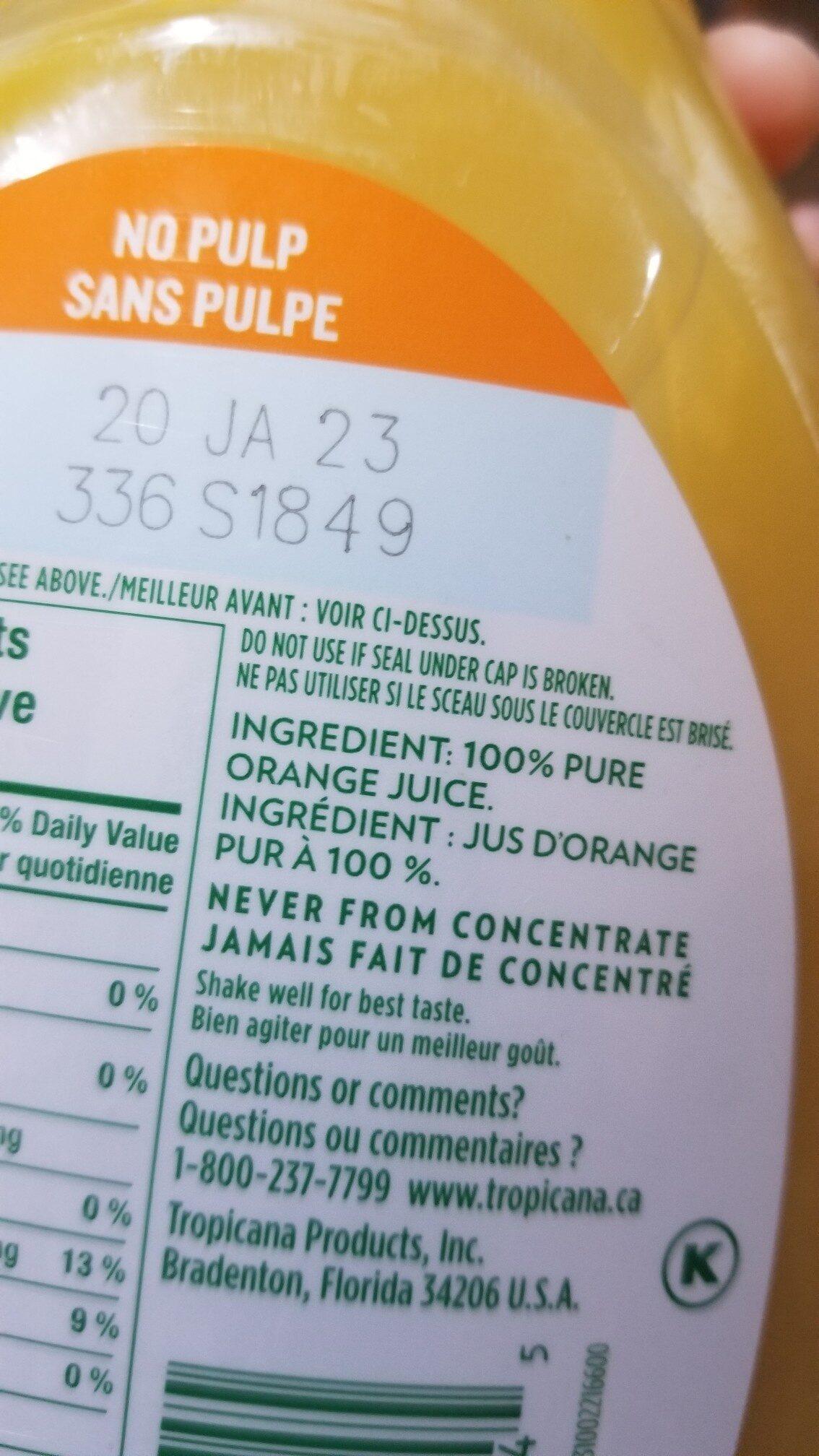 Tropicana jus d'orange pur et naturel à 100% - Ingredients - en