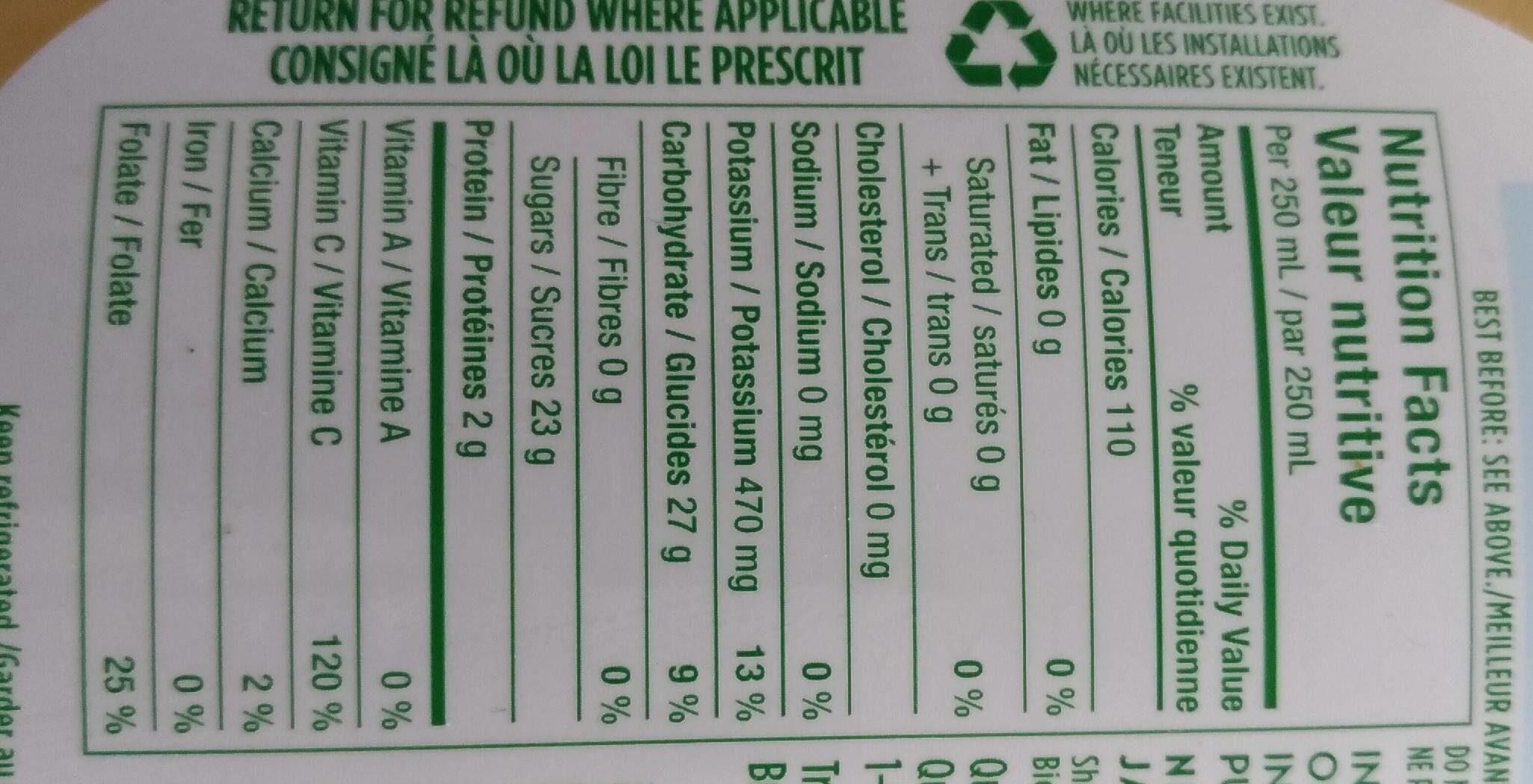 Tropicana jus d'orange pur et naturel à 100% - Nutrition facts - en
