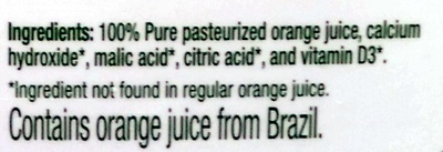 100% pure orange juice with calcium & vitamin D - Ingredients