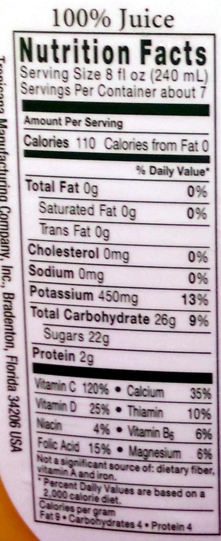 100% pure orange juice with calcium & vitamin d - tropicana - 59 fl