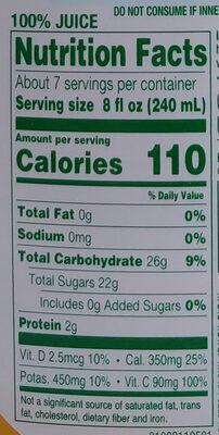100% pure juice, orange - Nutrition facts - en