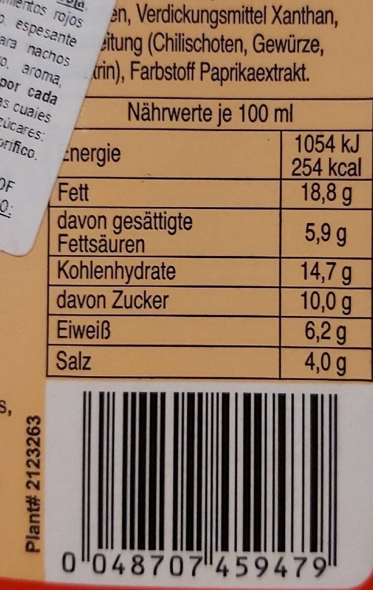 Squeeze Cheese - Nacho Cheese Sauce - 440 ML - Informations nutritionnelles