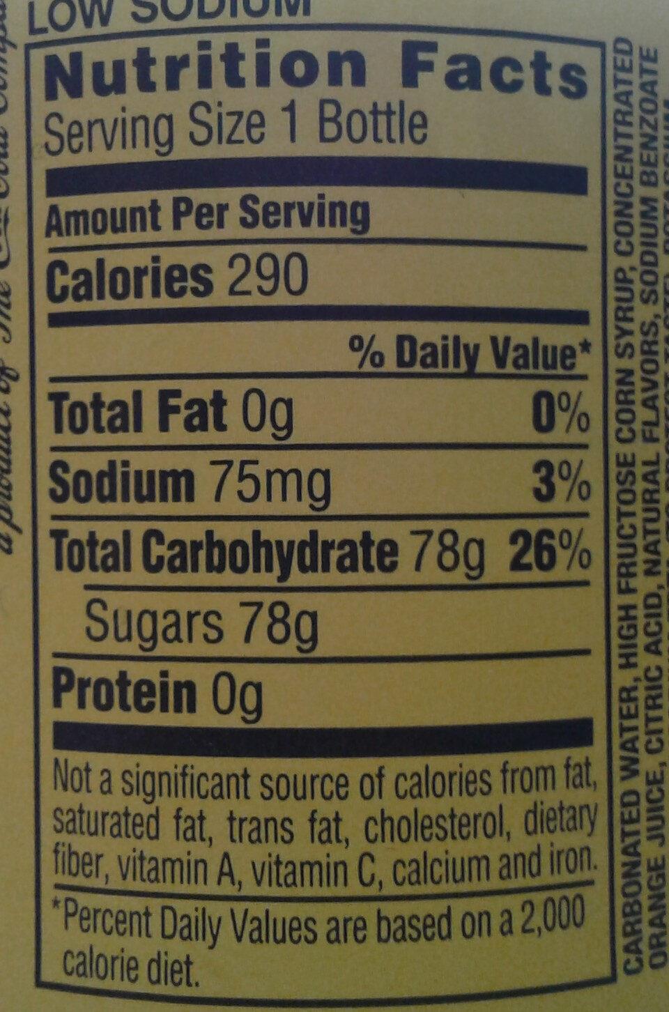 MelloYello citrus flavored soda - Nutrition facts