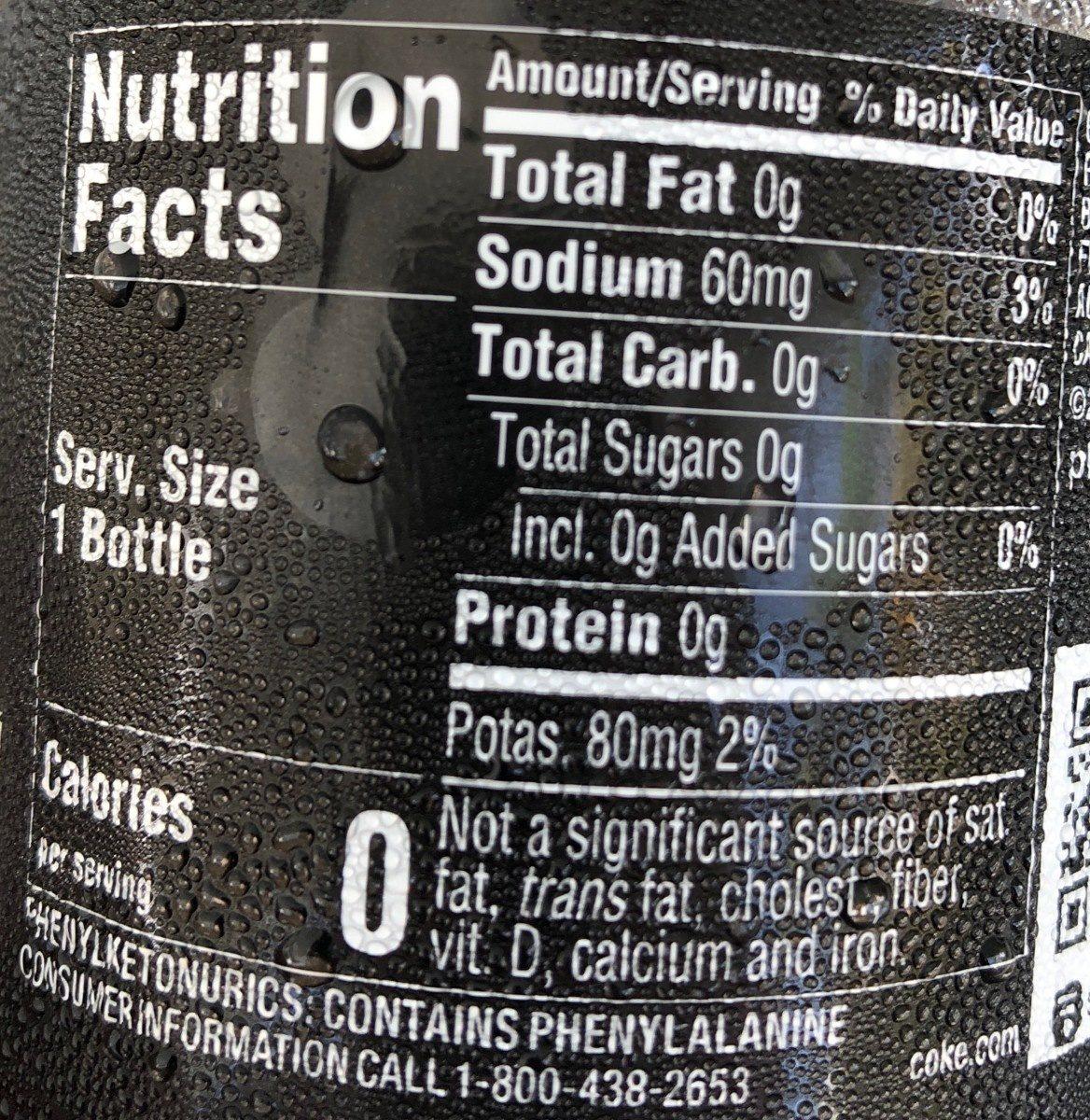 Coca-Cola Zero Sugar - Informations nutritionnelles - fr
