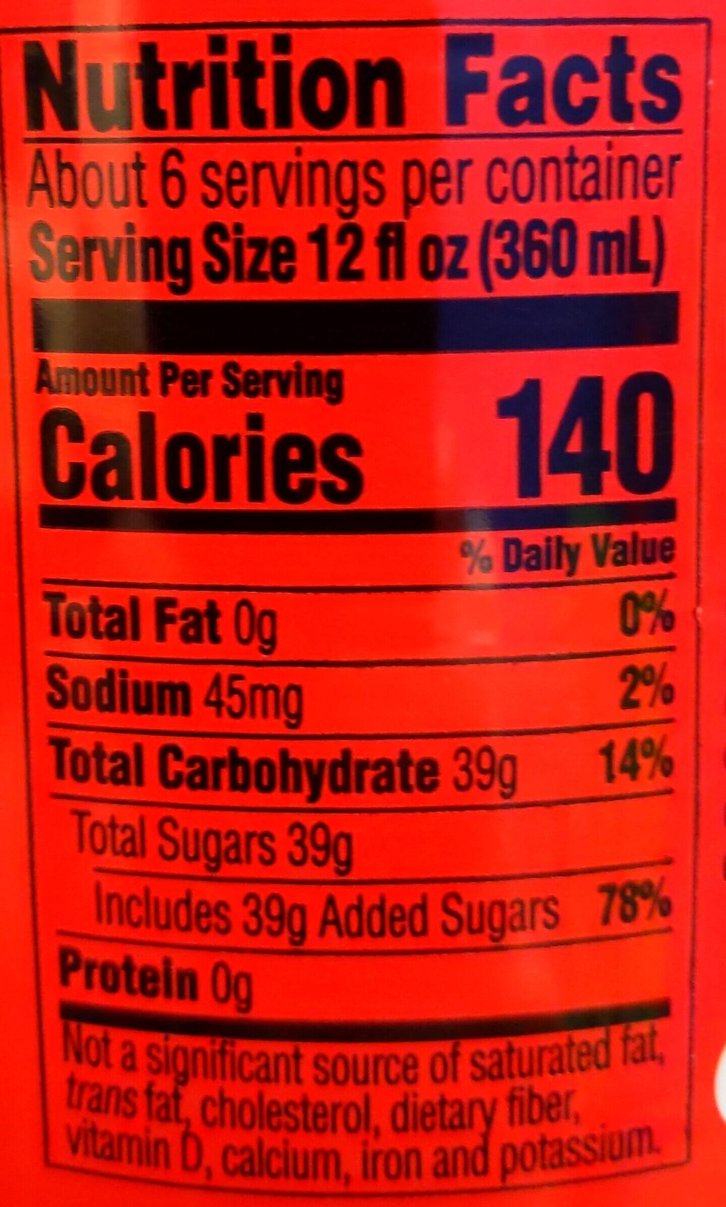 Coca-Cola - Valori nutrizionali - en