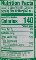 Sprite No Caffeine Lemon-lime Soda - Valori nutrizionali - en