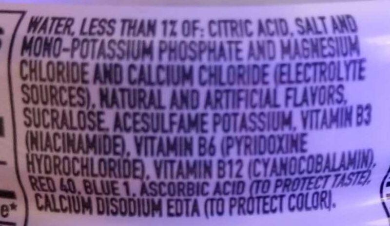 Zero grape zero calorie electrolyte enhanced sports drink - Ingrédients - en