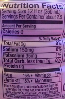 Zero grape zero calorie electrolyte enhanced sports drink - Informations nutritionnelles - en