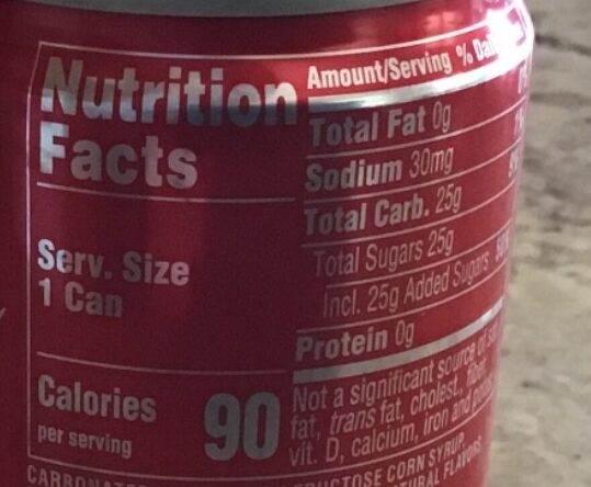 Coca-Cola - Nährwertangaben - en